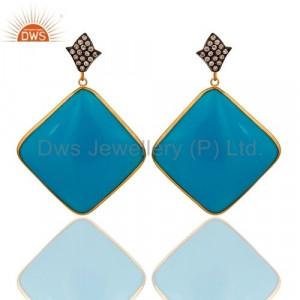 Bakelite Blue Sterling Silver Earring