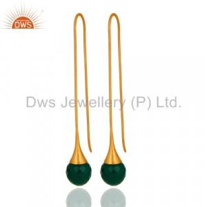 Green Onyx Briolette 24K Gold Vermeil Sterling Silver Earring