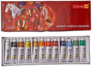 Camel Acrylic Color Box 9ml tubes 12 Shades
