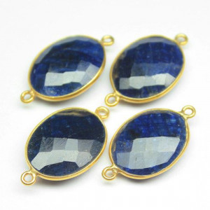 2 pc PAIR -22mm - Natural Blue Sapphire Oval 925 Sterling Silver Gold Vermeil Bezel Connector