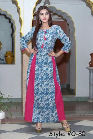 Blue Cotton A-Line Long Dress