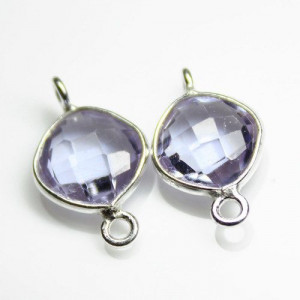 15mm Pair - Color Change Quartz Square Checker .925 Sterling Silver Handmade Connector