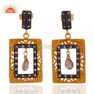 Gold Plated Sterling Silver Tourmaline CZ Earring