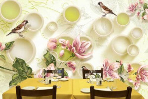 3D Wallpaper for Walls with Sparrow and Flower