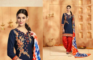 Ladies Cotton Cambric Patiyala Suit With Embroidery Work