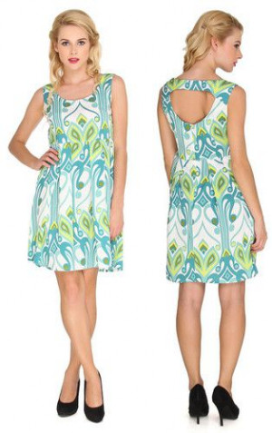 Sleeveless A-Line Big Leaf Print Dress