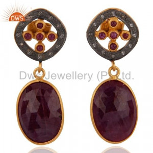 Pave Diamond & Ruby Sterling Silver Earring