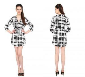 Bedazzle Women's A-line Black, White Dress