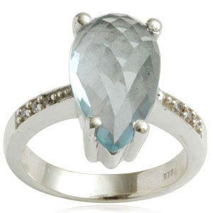 Briolite BlueTopaz Slive Ring Unique Class Ring