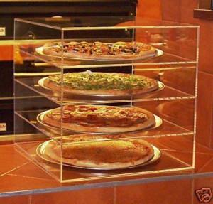 Acrylic Bakery Display Case 4 Tier Plexiglass Pizza Display Stand