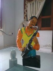 African Musician Polymarble Statue