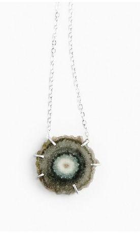 Designed Agate Slice Necklace