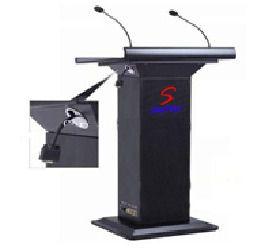 Stylish Elegant Black Wooden and Acrylic Podium Inbuilt PA System